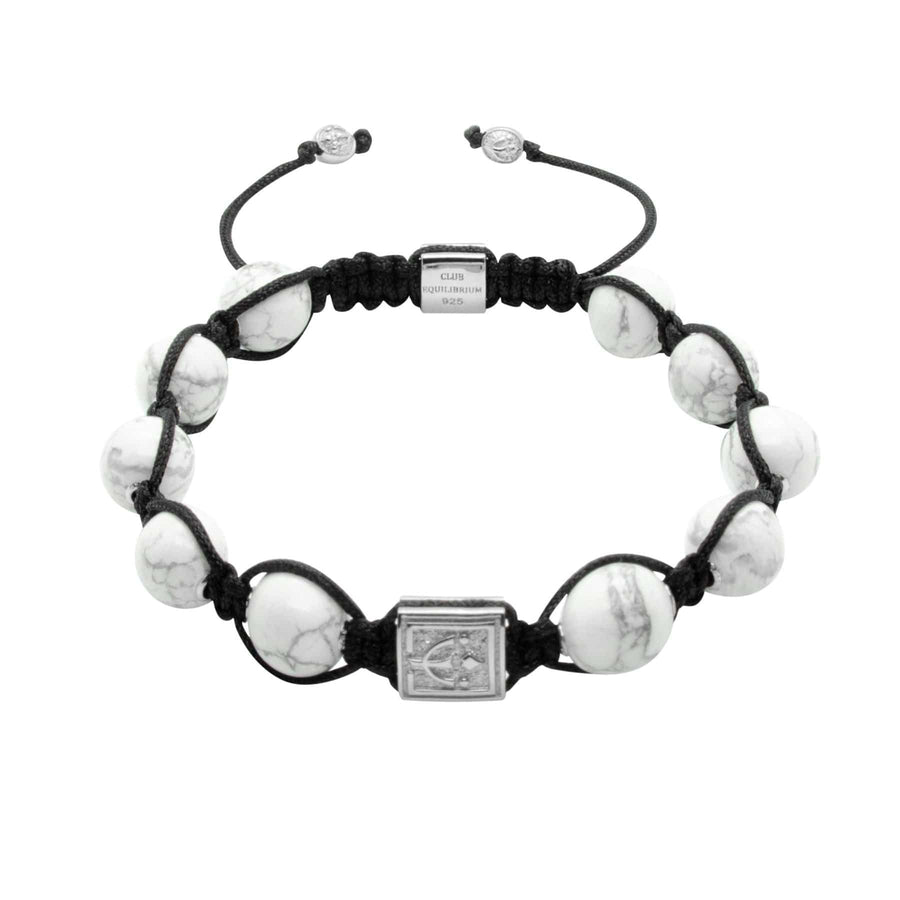 The Guardian - White Howlite Stone Bead Bracelet in 18K Gold/Silver | 10MM | Club Equilibrium