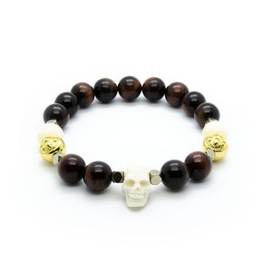 Red Tiger Eye Wristband Bracelet with Ox Bone Skull, Hematite and Gold | 10MM | Club Equilibrium