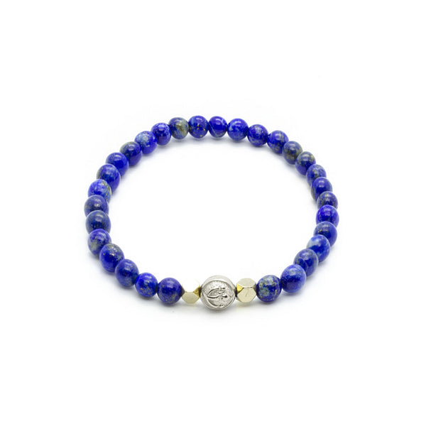 Lapis Lazuli Wristband with Hematite & Solid Silver | 6MM | Club Equilibrium