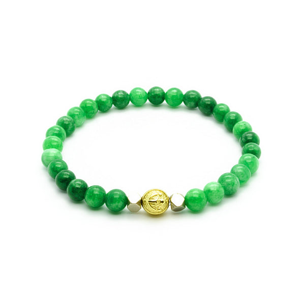 Enchanted Delight - Green Jade Wristband with Hematite in Gold | 6MM - CLUB EQUILIBRIUM