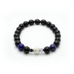 Black Onyx Stretch Wristband With Blue Lapis Lazuli and Hematite in Silver | 8MM - CLUB EQUILIBRIUM