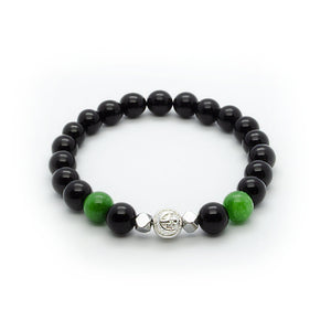 Black Onyx Wristband With Green Jade, Hematite and Solid Silver | 8MM - CLUB EQUILIBRIUM