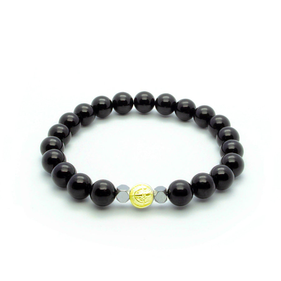 Black Onyx Stretch Wristband With Hematite in Silver/Gold/Rhodium | 8MM | Club Equilibrium