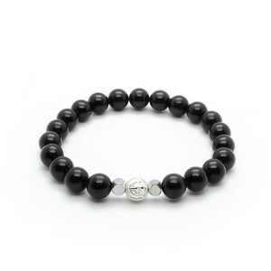 Black Onyx Stretch Wristband With Hematite in Silver/Gold/Rhodium | 8MM - CLUB EQUILIBRIUM
