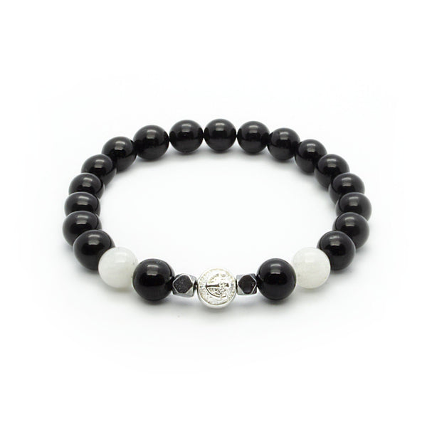 Black Onyx Bracelet With White Moonstone and Hematite in Silver | 8MM | Club Equilibrium
