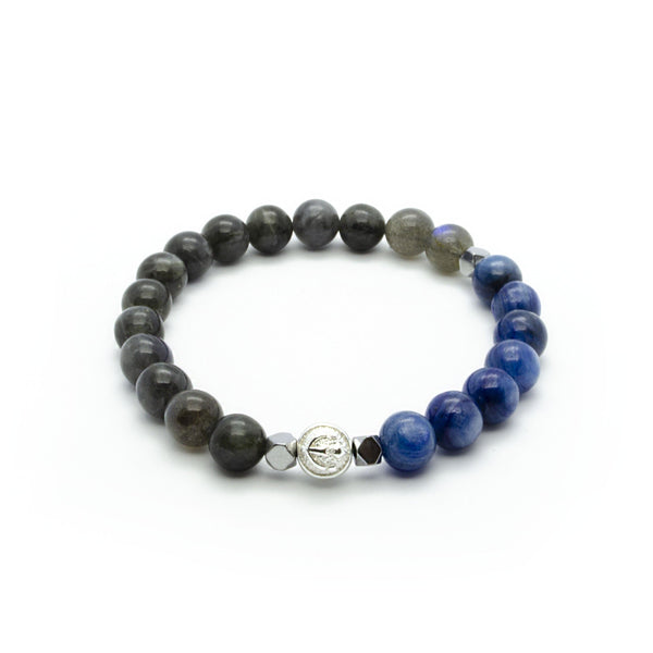 Premium Labradorite Wristband With Blue Kyanite, Hematite and Solid Silver | 8MM | Club Equilibrium
