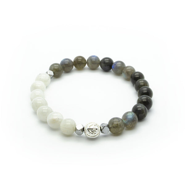 Premium Labradorite Wristband With White Moonstone, Hematite and Solid Silver | 8MM | Club Equilibrium