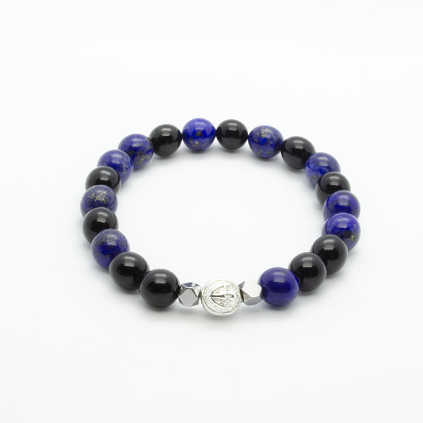 Blue Lapis Lazuli Wristband With Black Onyx, Hematite and Solid Silver | 8MM | Club Equilibrium