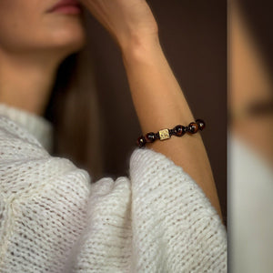 Signature Red Tiger Eye Macrame Bracelet in Gold/Silver/Rhodium | 10MM - CLUB EQUILIBRIUM