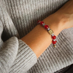 Ultimate Courage - Red Jade Stone Bead Bracelet in Gold | 10MM