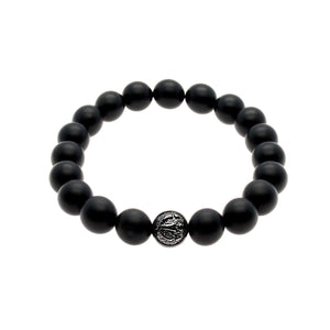 Powerful Matte Black Onyx Stretch Bracelet With Rhodium/Silver Trident | 10MM - CLUB EQUILIBRIUM