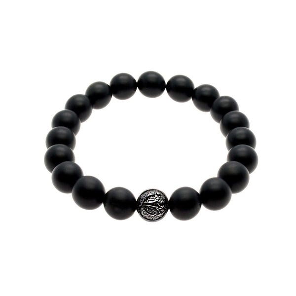 Powerful Matte Black Onyx Stretch Bracelet With Rhodium/Silver Trident | 10MM | Club Equilibrium