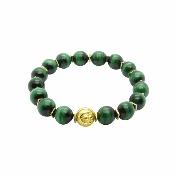 Premium Stretch Green Malachite Stone Bead Bracelet in Gold | 10MM | Club Equilibrium