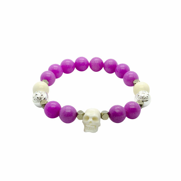 Stylish Pink Jade Bracelet with Skull, Ox Bone And Hematite in Silver | 10MM | Club Equilibrium