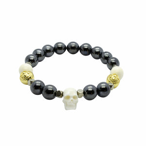 Lavish Black Hematite and Ox Bone Stretch Stone Bead Bracelet in Gold | 10MM | Club Equilibrium