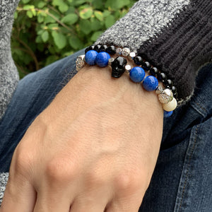 Warrior - Blue Jade Bracelet with Horn Skull and Ox Bone in Silver | 10MM - CLUB EQUILIBRIUM