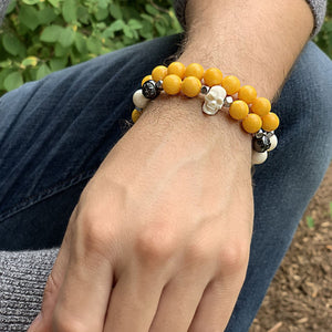 Sunny Yellow Jade Wristband with Horn Skull and Ox Bone in Rhodium | 10MM - CLUB EQUILIBRIUM