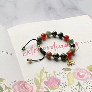 True Power | Signature Gold Bee Charm |  Agate- Carnelian - Hematite in Gold | 10MM - CLUB EQUILIBRIUM