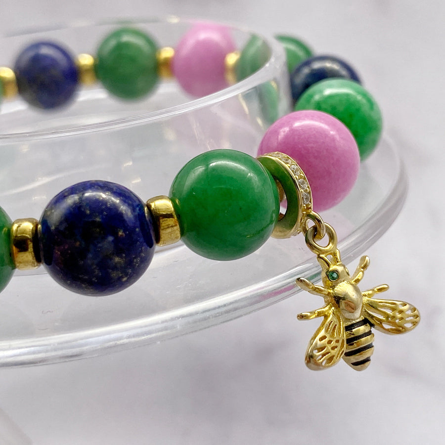 Summer Vibes | Signature Gold Bee Charm | Green Jade - Pink Jade - Blue Lapis Lazuli in Gold | 10MM | Club Equilibrium