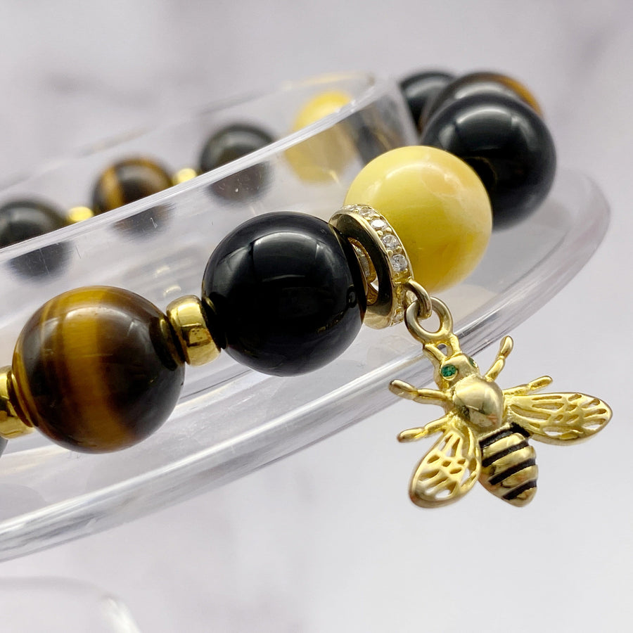 Lucky Bee | Signature Amber-Black Onyx-Yellow Tiger Eye Bracelet with Golden Bee Charm | 10MM - CLUB EQUILIBRIUM