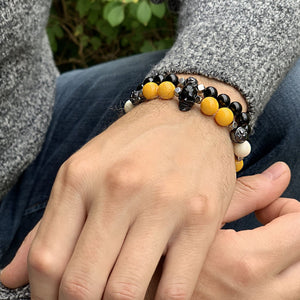 Sunny Yellow Jade Wristband with Horn Skull and Ox Bone in Rhodium | 10MM | Club Equilibrium