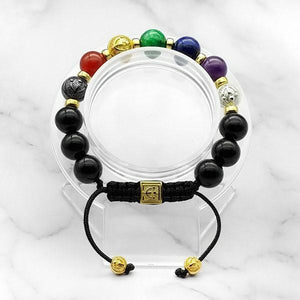 7-Chakras | Signature Black Onyx Bracelet in Gold, Silver & Black Rhodium | 10MM | Club Equilibrium