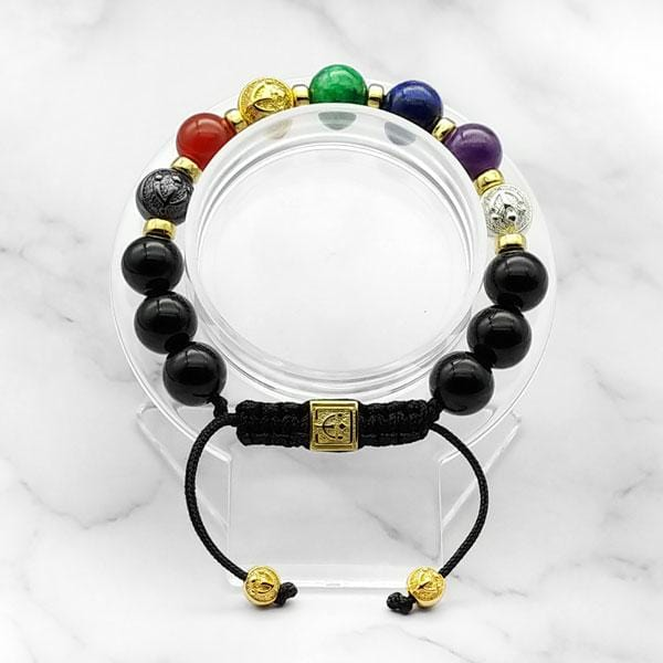 7-Chakras | Signature Black Onyx Bracelet in Gold, Silver & Black Rhodium | 10MM - CLUB EQUILIBRIUM