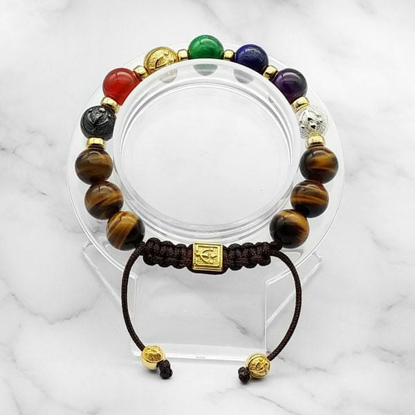 7-Chakras | Signature Yellow Tiger Eye Bracelet in Gold, Silver & Black Rhodium | 10MM | Club Equilibrium