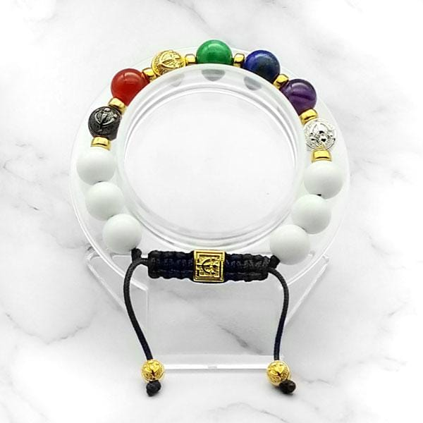 7-Chakras | Signature White Jade Bracelet in Gold, Silver & Black Rhodium | 10MM - CLUB EQUILIBRIUM