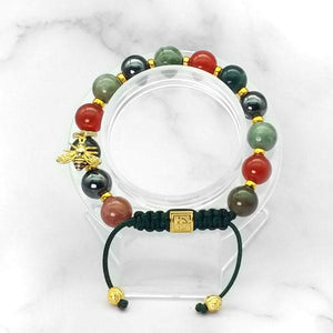 True Power | Signature Gold Bee Charm |  Agate- Carnelian - Hematite in Gold | 10MM | Club Equilibrium