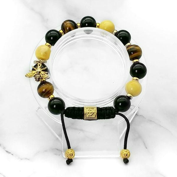 Lucky Bee | Signature Amber-Black Onyx-Yellow Tiger Eye Bracelet with Golden Bee Charm | 10MM | Club Equilibrium