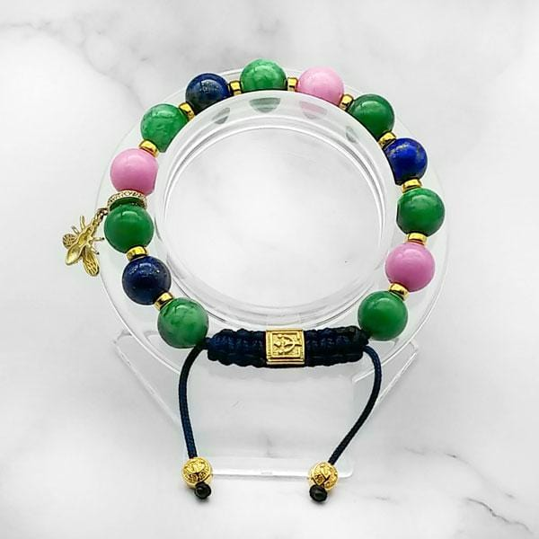 Summer Vibes | Signature Gold Bee Charm | Green Jade - Pink Jade - Blue Lapis Lazuli in Gold | 10MM - CLUB EQUILIBRIUM