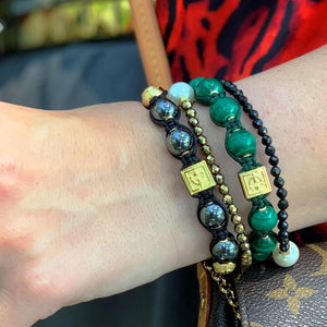 Signature Green Malachite Macrame Stone Bead Bracelet in 18K Gold/Silver | 10MM | Club Equilibrium