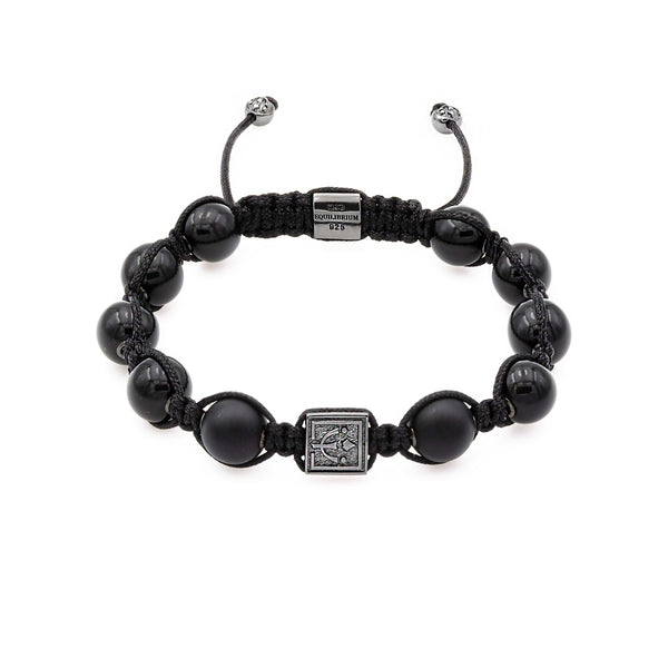 Black Onyx Signature Stone Bead Bracelet in Rhodium/Silver | 10MM | Club Equilibrium