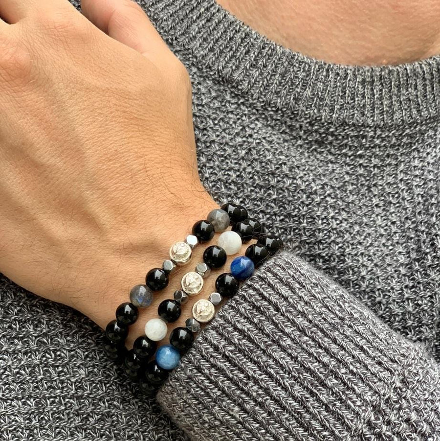 Black Onyx Bracelet With White Moonstone and Hematite in Silver | 8MM - CLUB EQUILIBRIUM