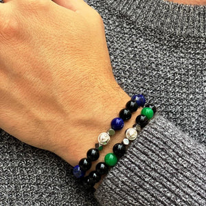Blue Lapis Lazuli Wristband With Black Onyx, Hematite and Solid Silver | 8MM - CLUB EQUILIBRIUM