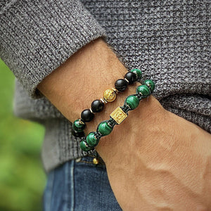 Luxury in Black - Onyx Bracelet With Malachite in Gold | 10MM - CLUB EQUILIBRIUM