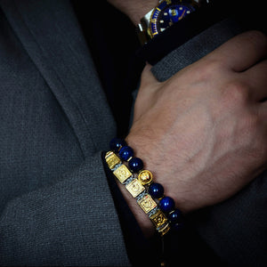 Blue Gold - Premium Blue Lapis Lazuli Stone Bead Bracelet in Gold | 10MM - CLUB EQUILIBRIUM