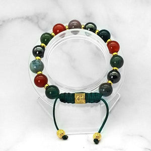Triple Power |  Agate-Carnelian-Hematite Bracelet in Gold & Silver | 10MM - CLUB EQUILIBRIUM