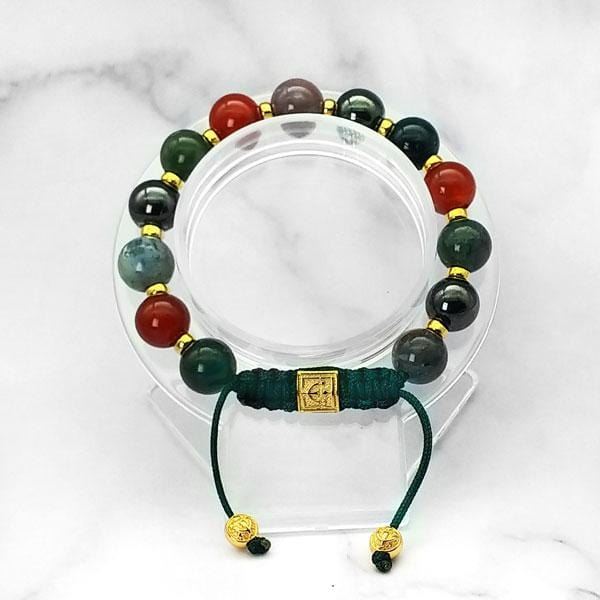 Triple Power |  Agate-Carnelian-Hematite Bracelet in Gold & Silver | 10MM | Club Equilibrium