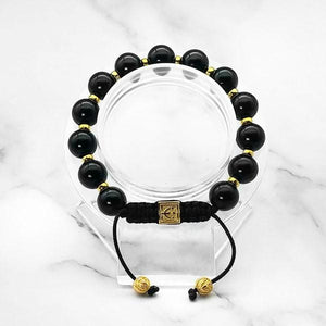 Starry Night | Signature Black Onyx Stone Bracelet in Gold and Silver | 10MM | Club Equilibrium
