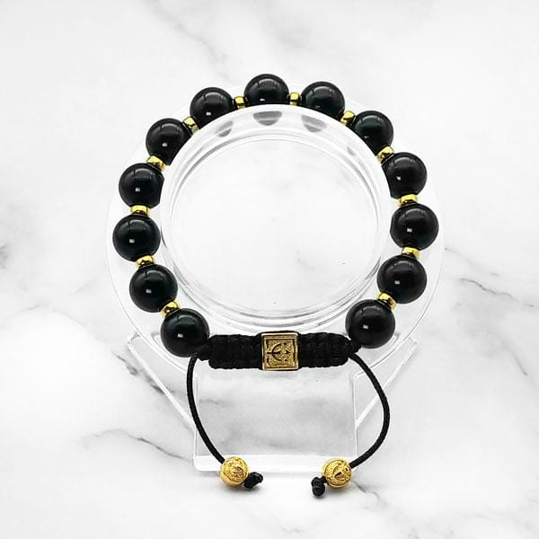 Starry Night | Signature Black Onyx Stone Bracelet in Gold and Silver | 10MM - CLUB EQUILIBRIUM