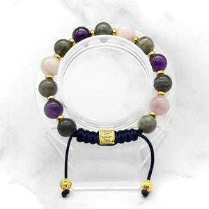 Miracle of Love | Labradorite-Rose Quartz-Amethyst Stunning Bracelet in Gold/Silver 10MM | Club Equilibrium