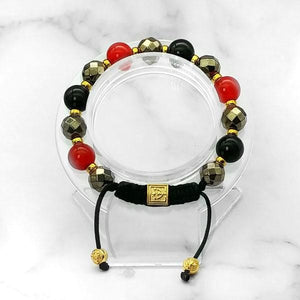 Night Fire |  Stunning Pyrite-Red Jade-Black Onyx Bracelet in Gold/Silver | 10MM | Club Equilibrium