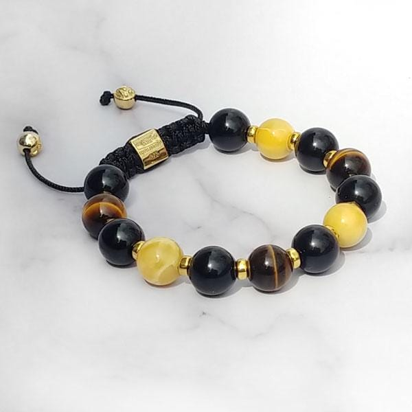 Gold of the Sea  | Amber - Black Onyx - Yellow Tiger Eye Bracelet in Gold/Silver | 10MM | Club Equilibrium