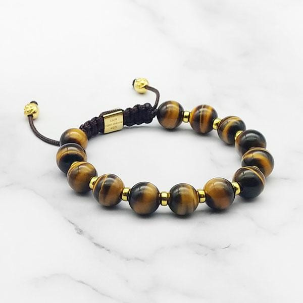 Fortune Forever | Yellow Tiger Eye Signature Bracelet in Gold | 10MM | Club Equilibrium