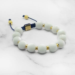 Touch of Heaven | White Jade Bracelet in Gold/Silver | 10MM | Club Equilibrium