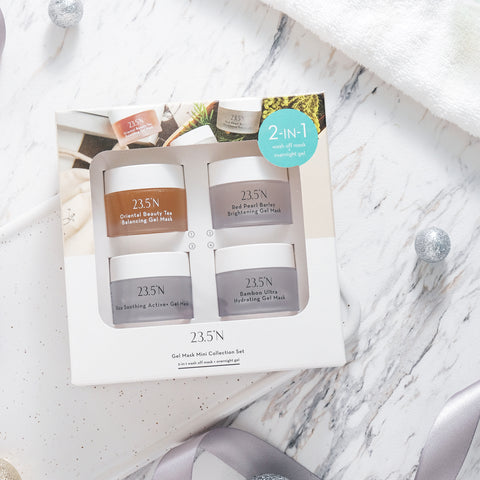 Check out 23.5N's Mini Mask Sampler Set where you will be able to sample smaller sizes of the Bamboo Ultra Hydrating, Rice Soothing, Red Pearl Barley Brightening, and Oriental Beauty Tea Balancing Gel Masks! This set is a great deal to try out 23.5°N as it's a $32 value with a 22% savings!