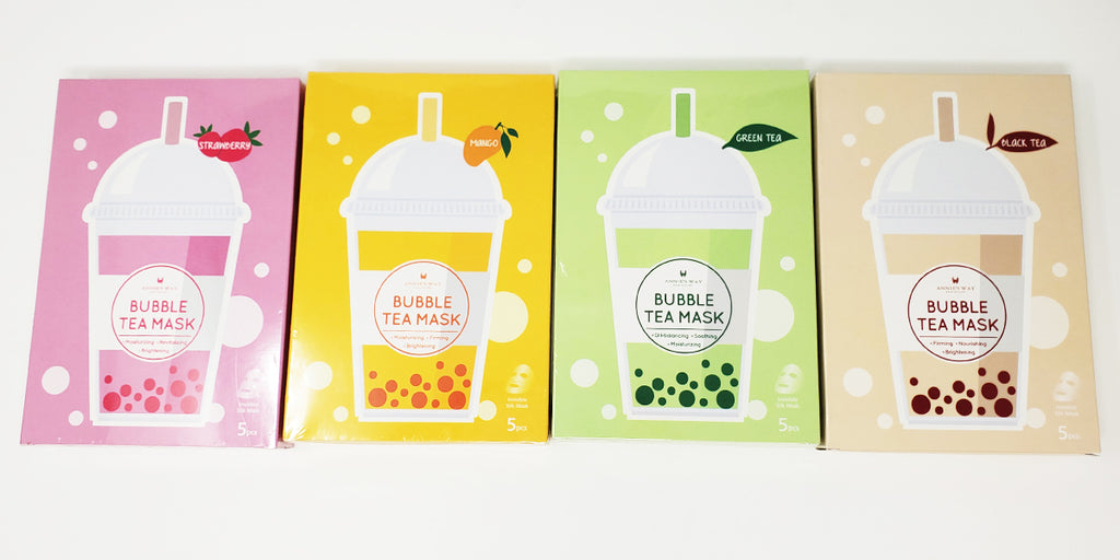 Annie's Way Bubble Tea Sheet Masks Strawberry Mango Green Tea Black Tea