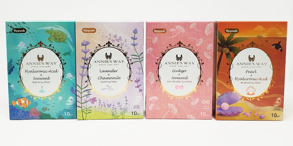 Annie's Way Fantasy Land Series Hyaluronic Acid + Seaweed, Lavender + Chamomile, Ginkgo + Seaweed, Pearl + Hyaluronic Acid Sheet Masks